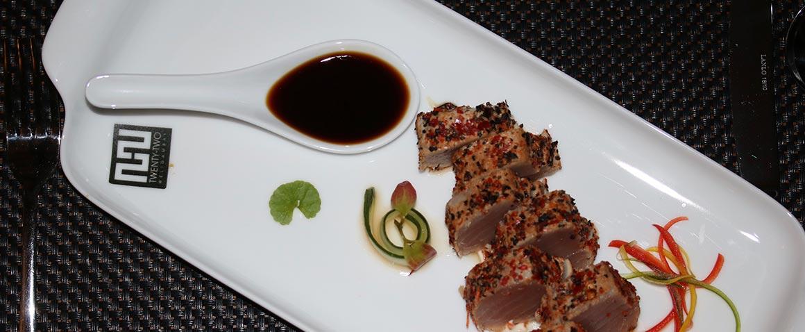 A sashimi dish made of fresh tuna