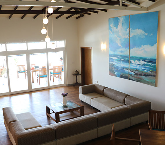 The living room of the ocean suite