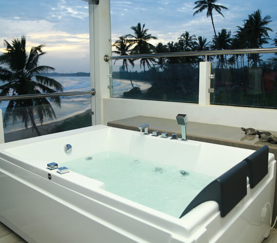 The whirlpool Jacuzzi on the balcony